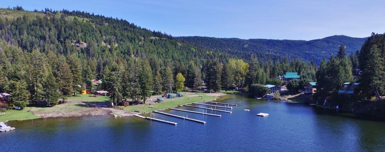Aerial view of Lake Front Cabins at Missezula Lake