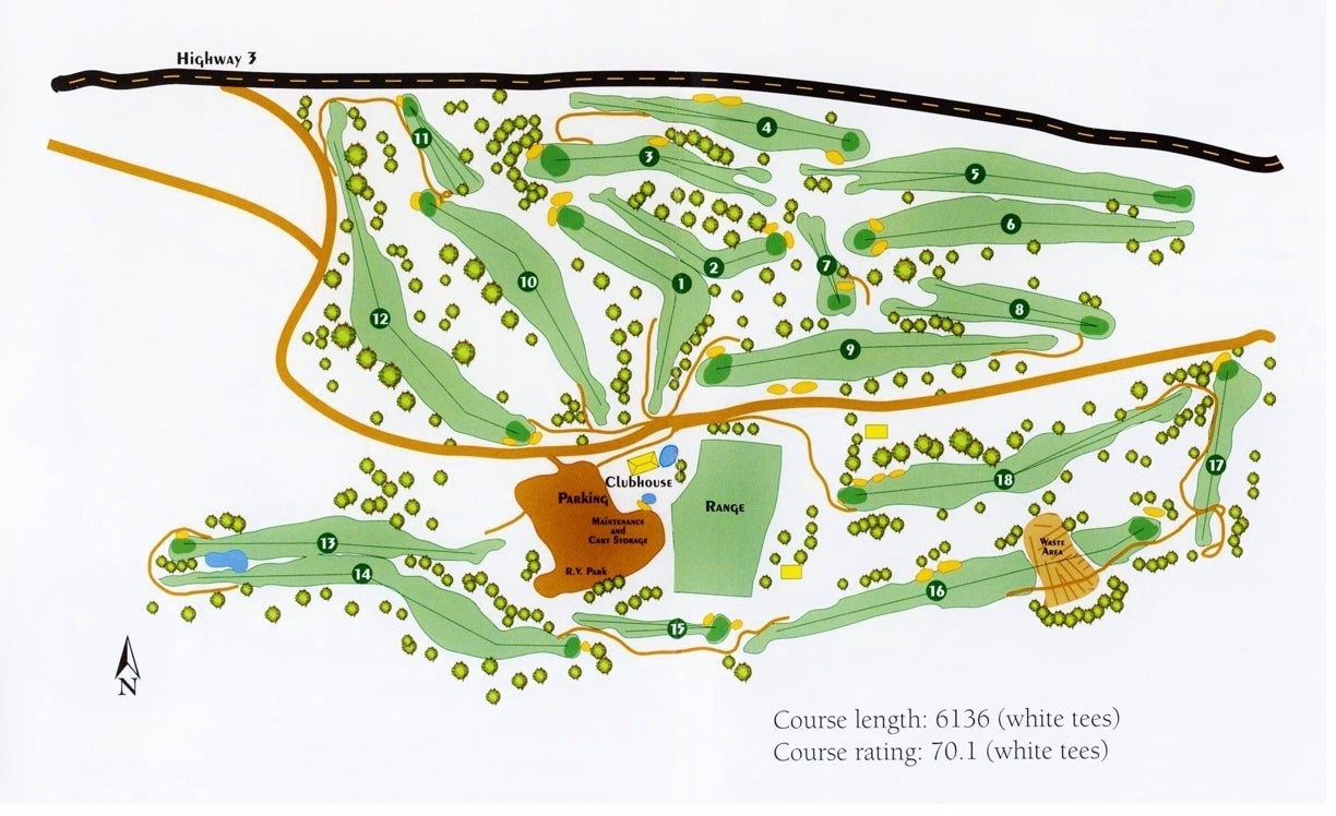 Map of the golf course in Princeton BC