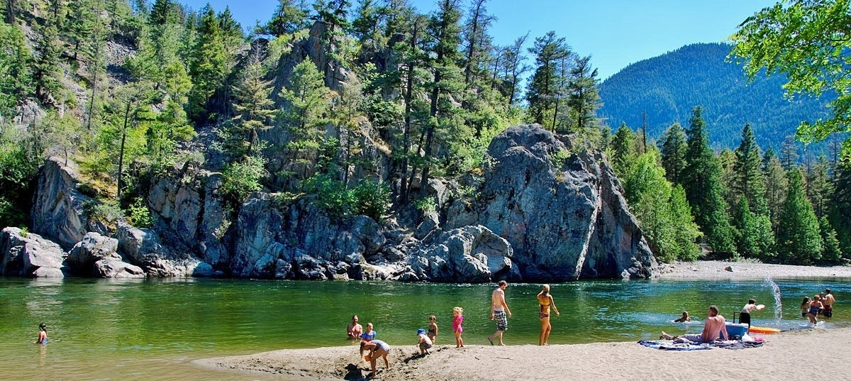 Swimming and lounging at the beach at Bromley Rock in Princeton BC